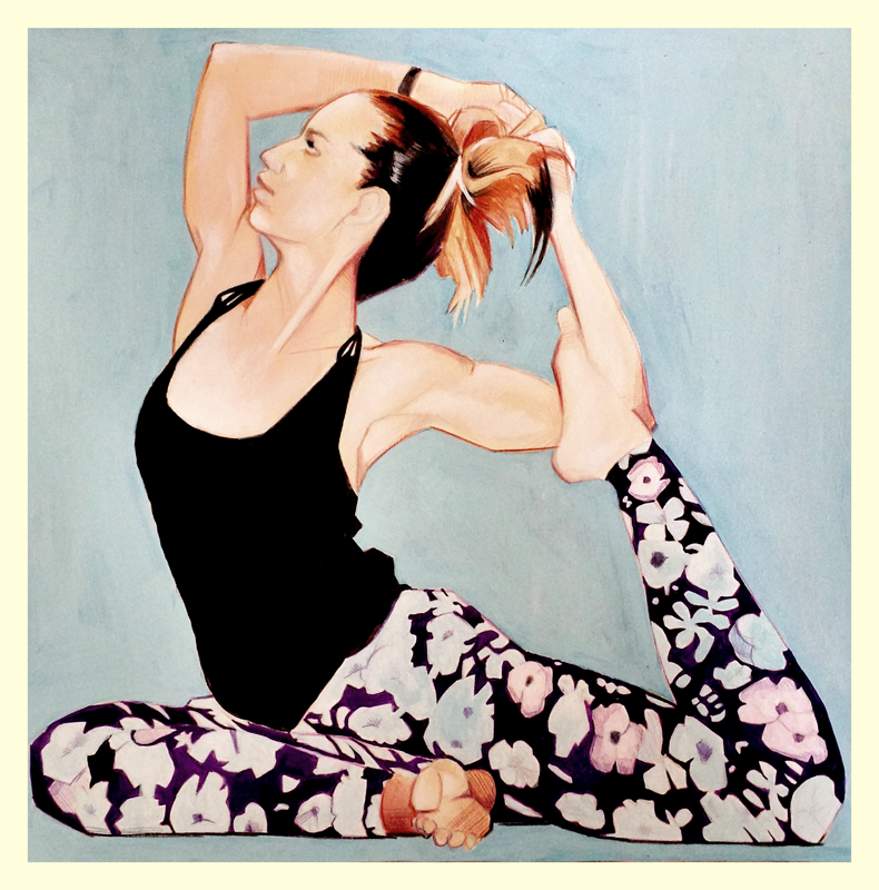 illustration painting yoga girl