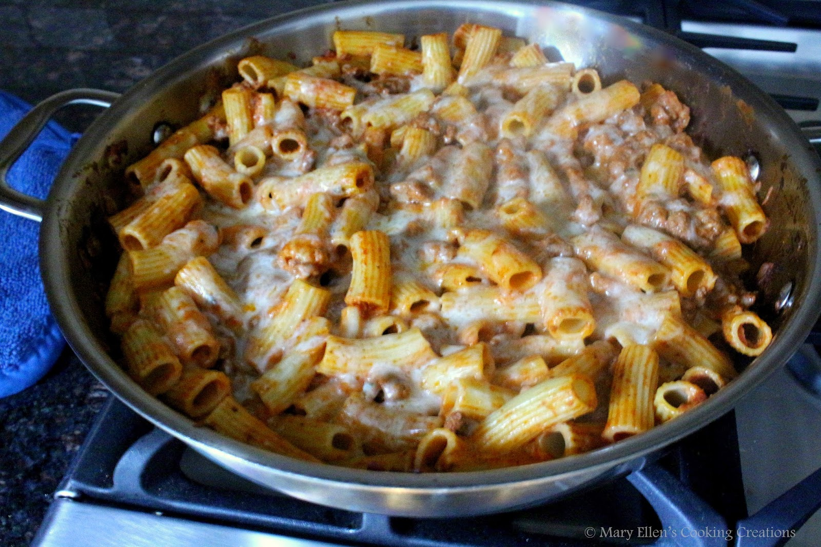 Mary Ellen's Cooking Creations: Skillet Baked Rigatoni
