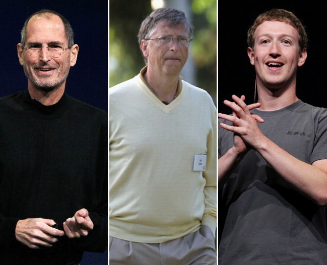 Bill Gates, Mark Zuckerberg, Steven Jobs