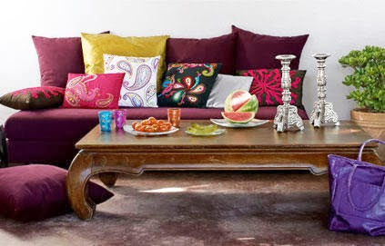 moroccan glasses, watermelon, purple cushions, indian paisely cushions