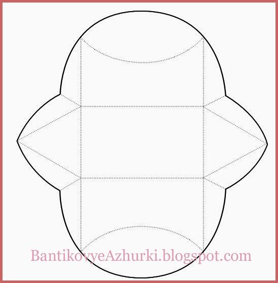 Схема подарочной коробочки с треугольными сторонами.