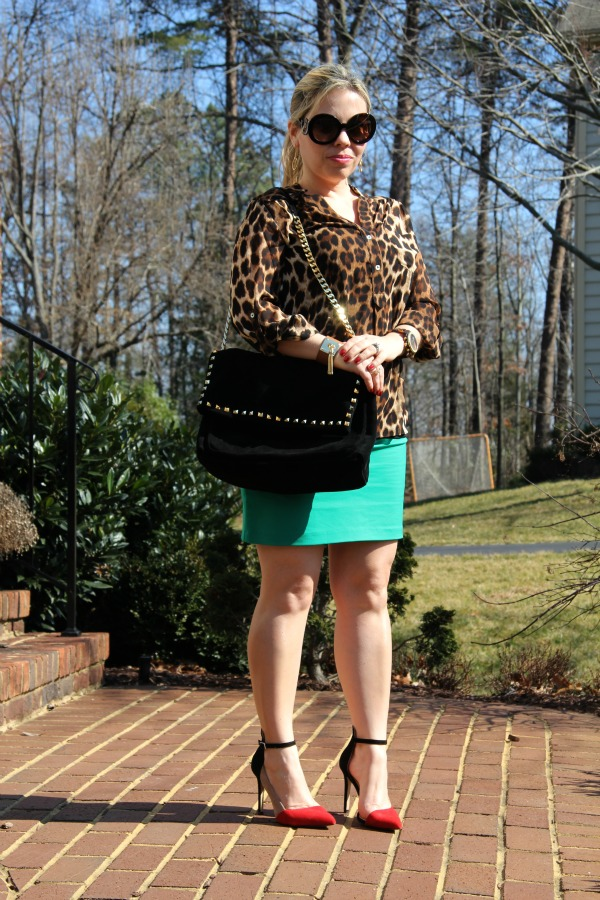 Emerald green skirt from my closet, Leopard Print Shirt from Forever 21 (similar here), Shoes from Zara from my closet (similar here), Studded Suede City Bag from Zara, Baroque Round Sunglasses from Prada, Oversized Madison Chronograph Watch from Michael Kors and bracelet from TJMaxx