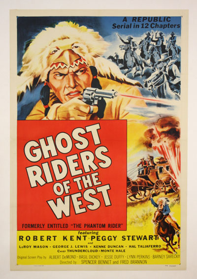free printable, printable, classic posters, free download, graphic design, movies, retro prints, theater, vintage, vintage posters, western, Ghost Riders of the West, Robert Kent, Peggy Stewart - Vintage Western Cowboy Movie Poster