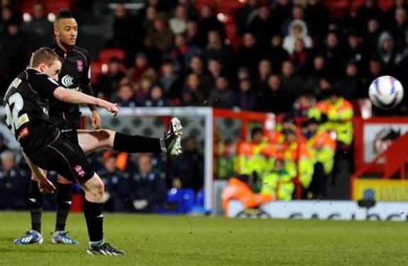 Birmingham player Shane Ferguson scores against Crystal Palace with a superb free-kick