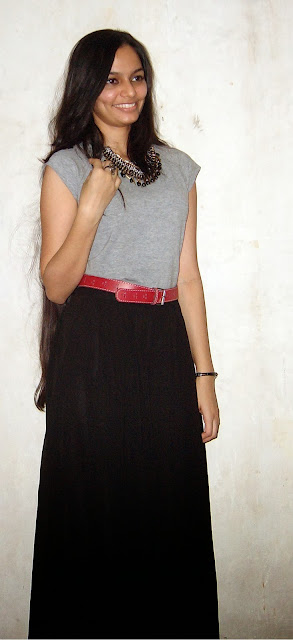 spiked necklace, palazzo, red belt, how to dress for work, what to wear to college in mumbai, cool college outfits