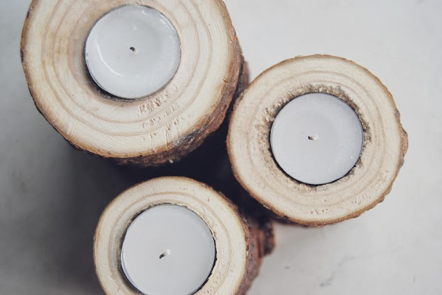 DIY bougeoirs en bois brut