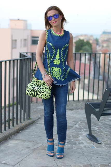 Cesare Paciotti sandals, denim on denim trend, green stitched vest, Fashion and Cookies