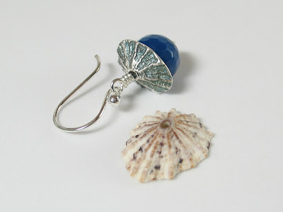 PMC fine silver limpet as bead cap designed by Libellula Jewelry