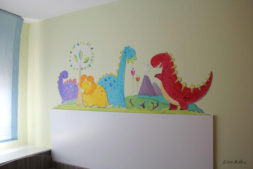 El rinc n del arte espacio creativo mural de dinosaurios - Mural pared infantil ...