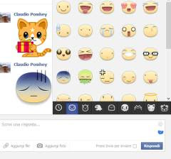 adesivi come emoticon in chat Facebook