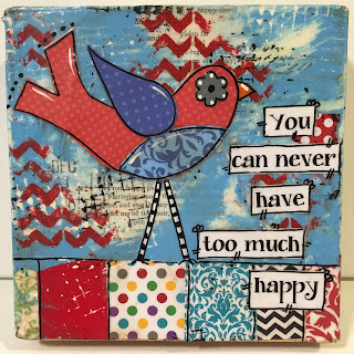 painted bird, mixed media bird, red bird, art bird, too much happy