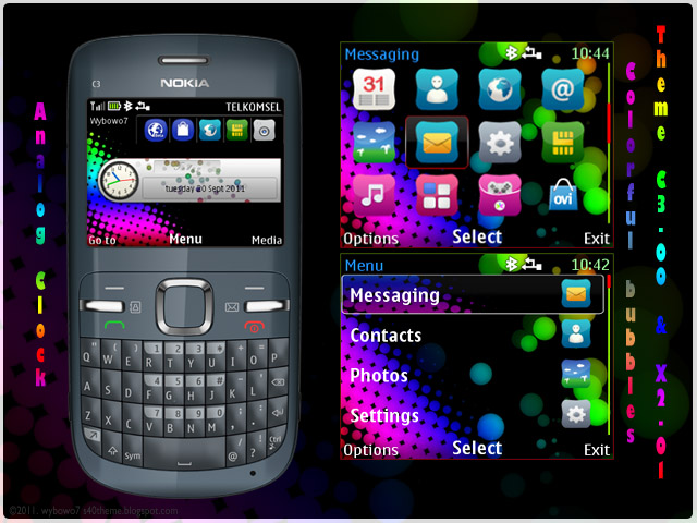 Theme Free Download: Colorful bubbles theme for Nokia C3-00 & X2-01
