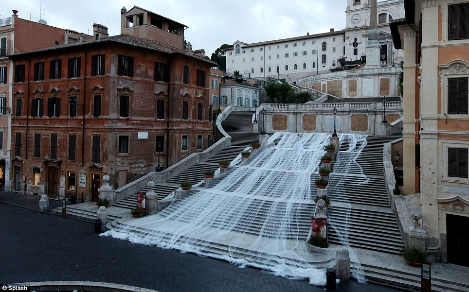 The Longest Bridal Train In World Record Breaking Wedding Dress Stretches Over TWO MILES Of Italian Church Steps