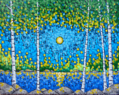 sparkles of spring, z place gallery, aaron kloss art, pointillism