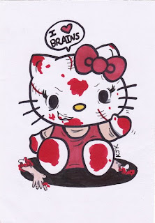 Hello Kitty zombie brains poster