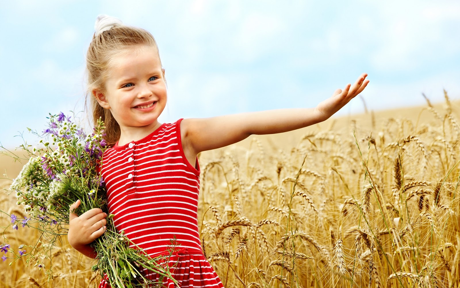 Cute Little Girl Wheat Field With Flowers Hd Wallpaper