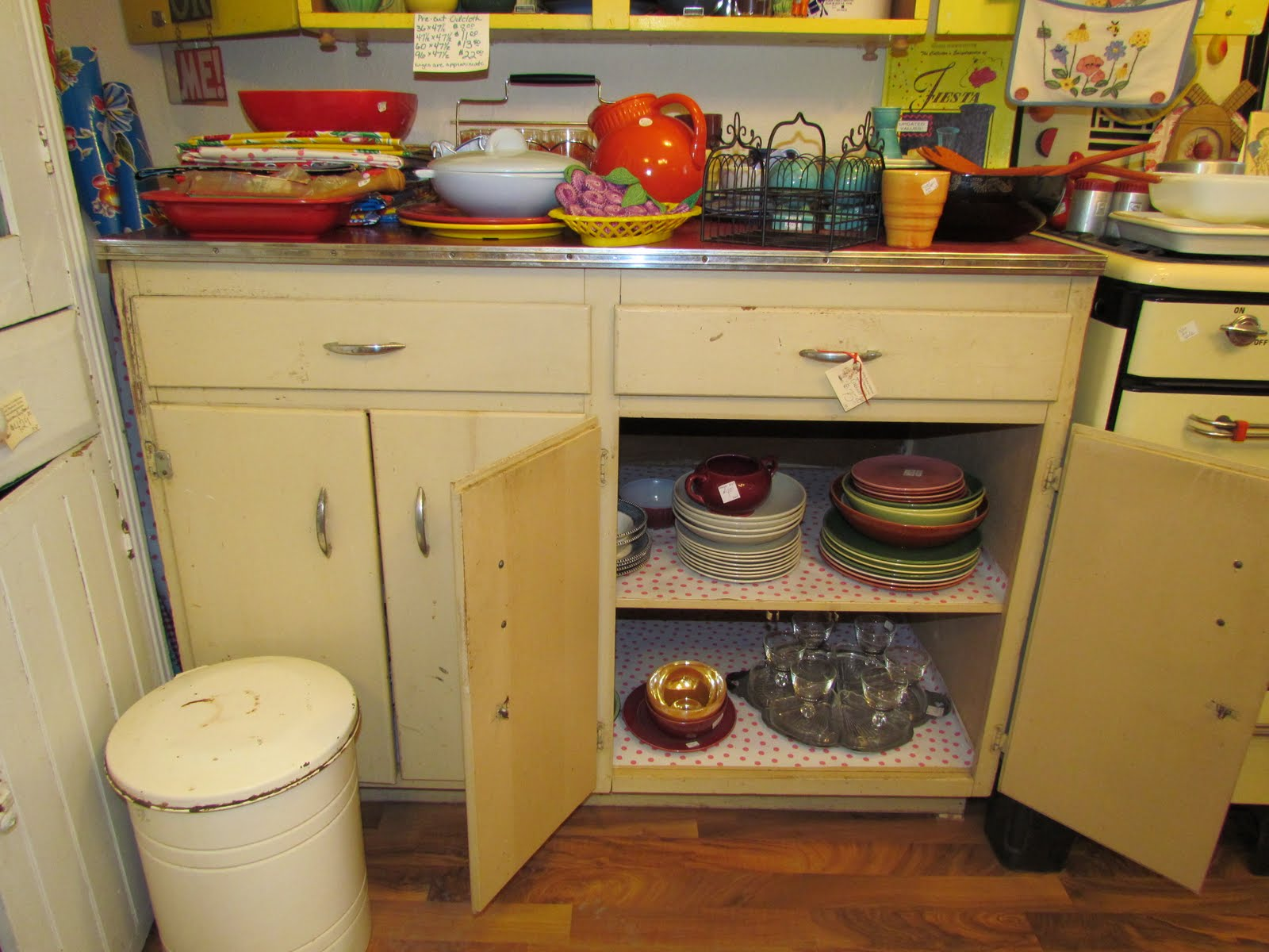 Fun kitchen base cabiwith red top great storage was $75, now