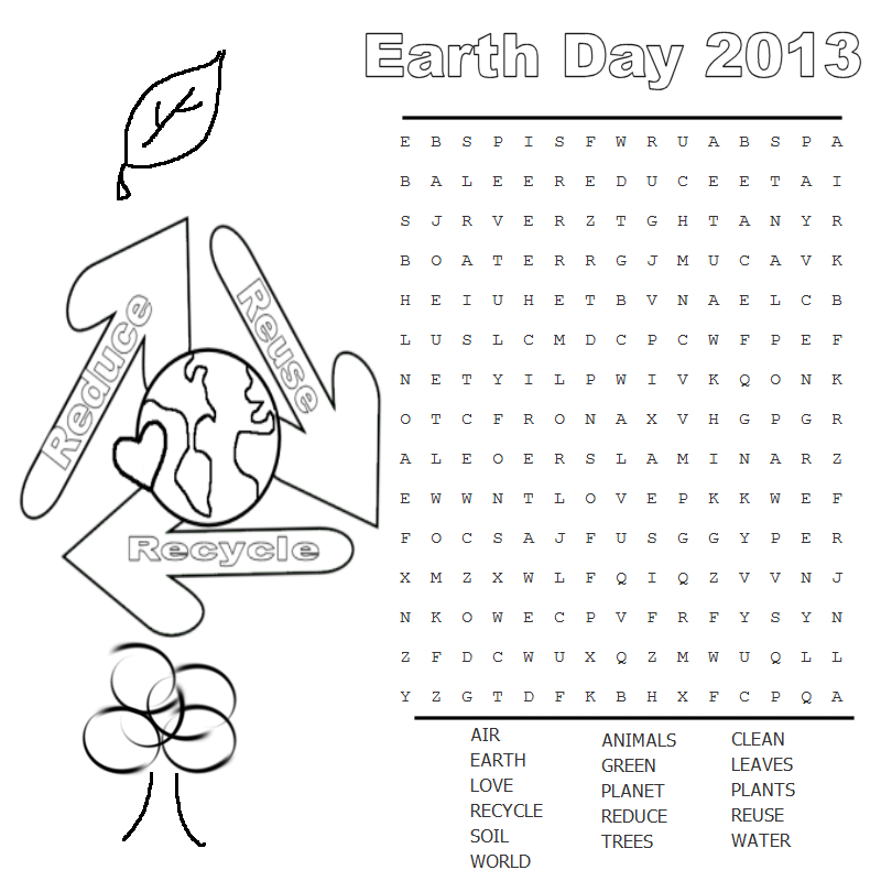 photo relating to Earth Day Word Search Printable named 5 Simple Planet Working day Term Look Printable For Children
