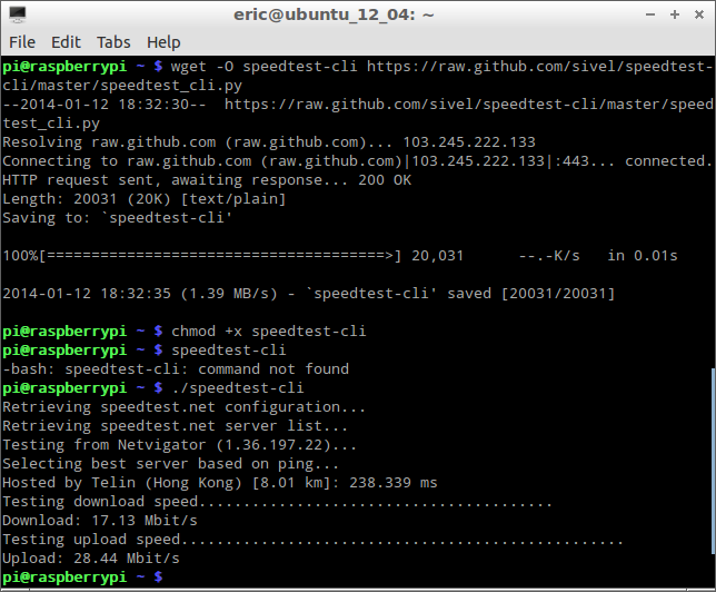 Test internet bandwidth using speedtest-cli