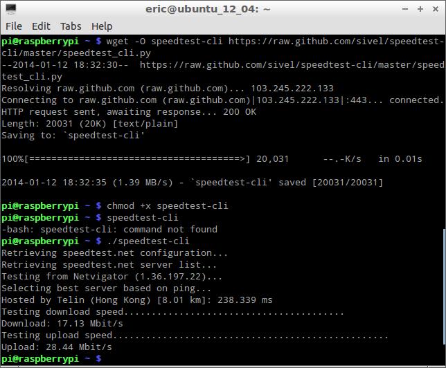 Test internet bandwidth using speedtest-cli