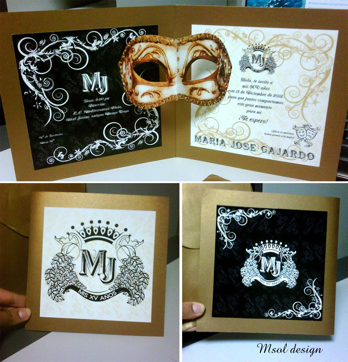 Msol design invitaciones para 15 a os - Mascaras venecianas decoracion ...