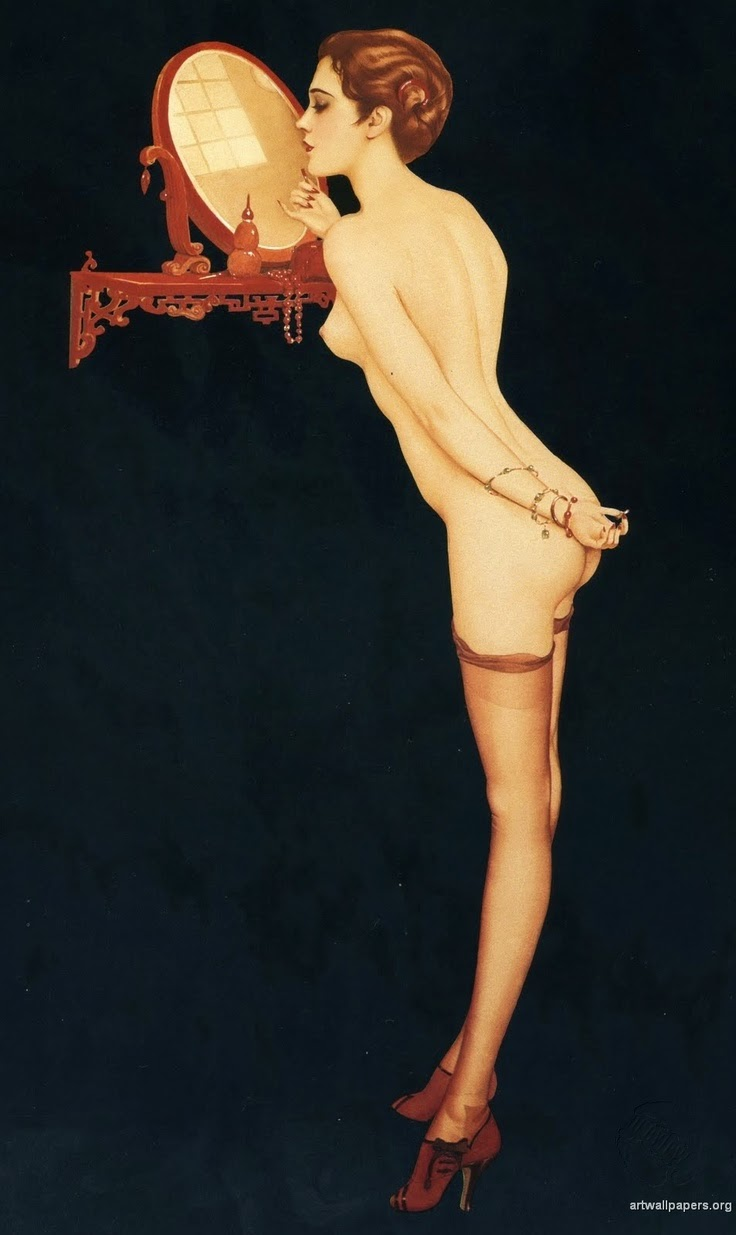 pin up with mirror illustration by Alberto Vargas