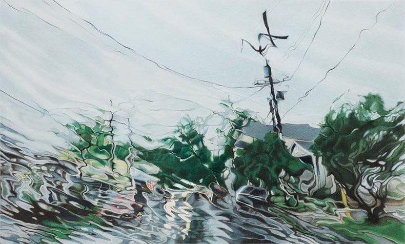 Dibujos hiperrealistas de paisaje lluviosos a través del parabrisas por Elizabeth Patterson