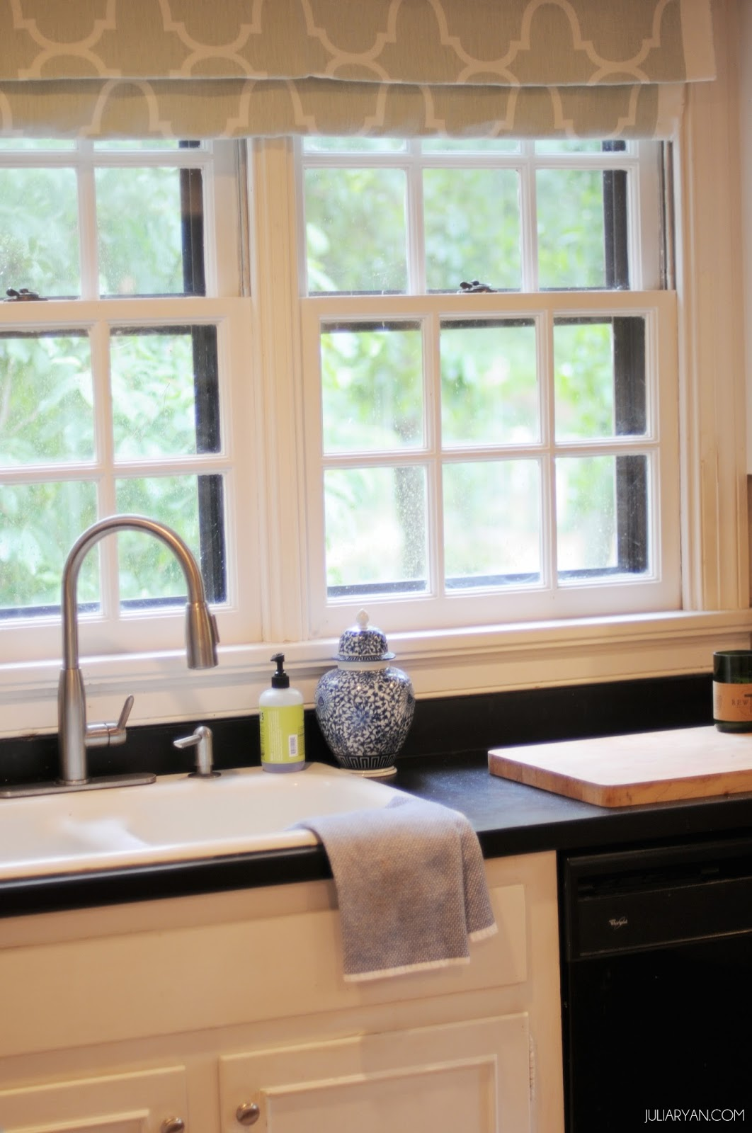New house progress kitchen window treatments julia ryan for Fabric shades for kitchen windows