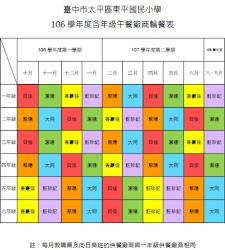 午餐供膳輪餐表   ( 本學年度共有6家廠商輪餐,分別為    大同    /    聚陽    /    飪珍記     /    潔達    /    貝佳    /    香豪佳   。)