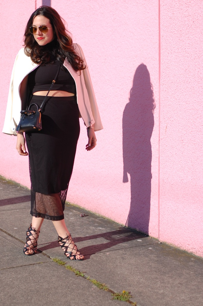 Asos pencil skirt with mesh overlay, Mini Prada bag and a crop top by Vancouver fashion blogger Covet and Acquire