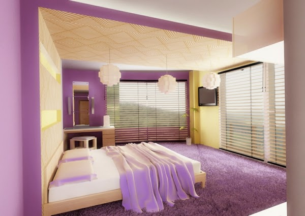 Purple Bedroom Ideas   Patterned Bed Linens With Touch Of Purple