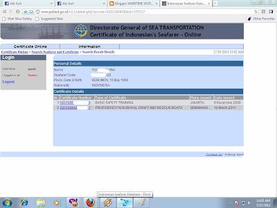 terdaftar di http://pelaut.go.id maka akan muncul seperti diatas