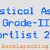 Kerala PSC Statistical Assistant Grade Shortlist 2015