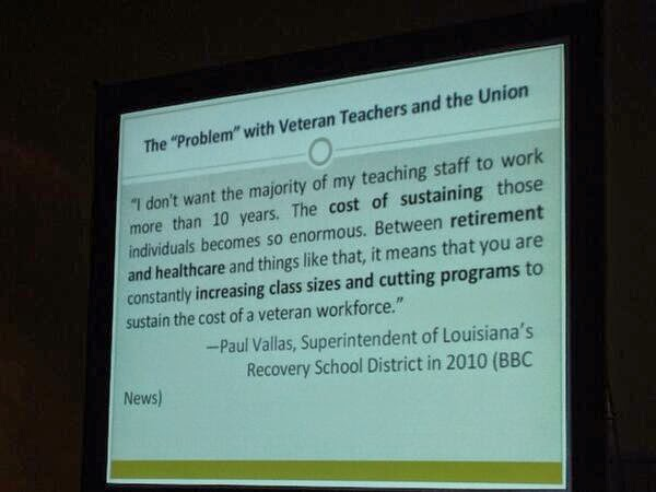 Paul Vallas admitting that he wants no teachers with at least a decade of experience.