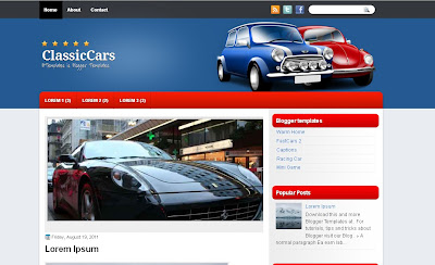classic Cars free Blogger template
