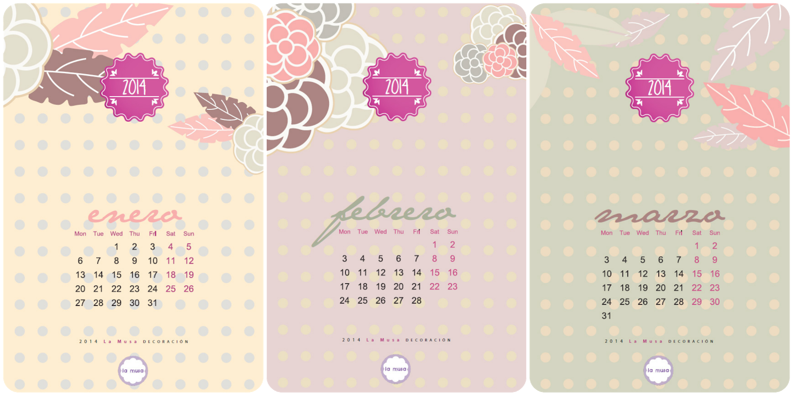 Descargar Calendario, La Musa Decoración, calendar, calendario, freebie, 2014
