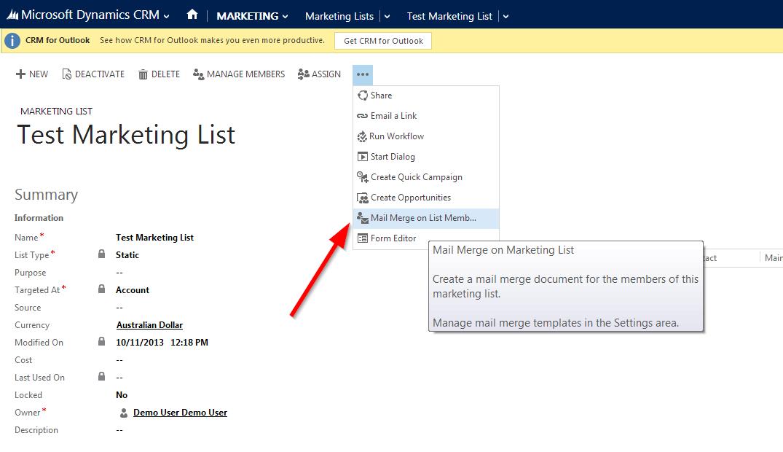Dynamics Crm 2013 Mail Merge Microsoft Dynamics Crm