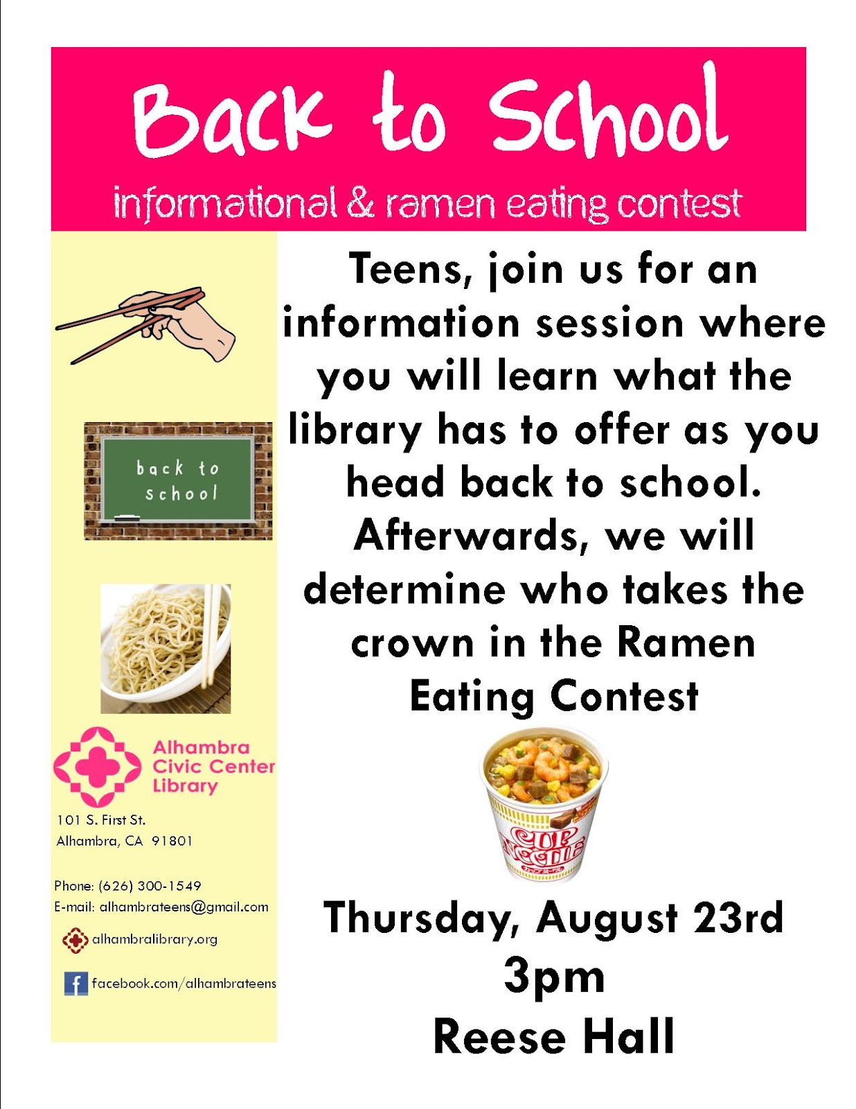 Back to school informational ramen eating contest for Informative poster template
