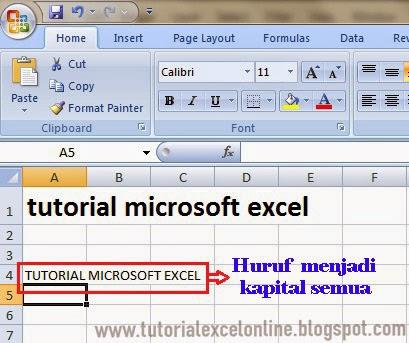 Hasil rumus Upper Excel