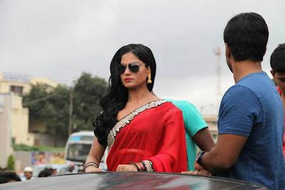 veena malik red saree gogles