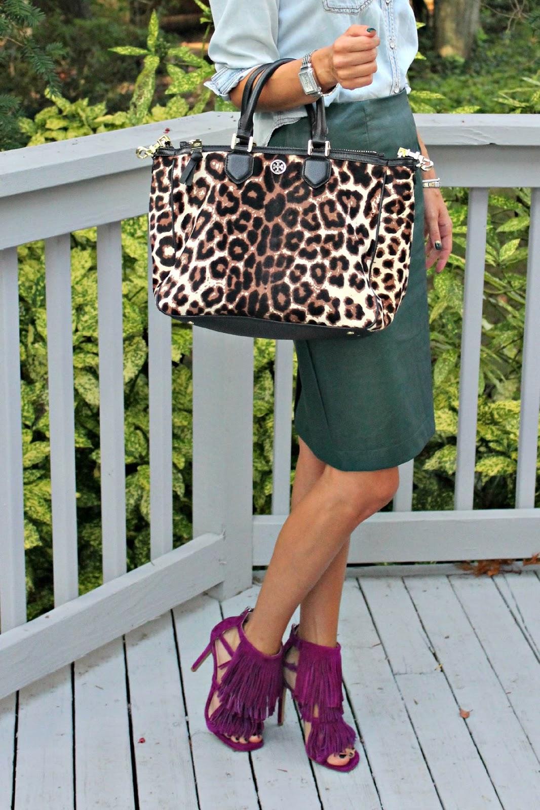 tory burch leopard tote bag