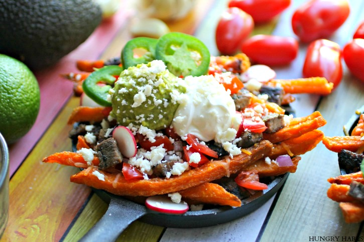 1 20oz Package Alexia Sweet Potato Fries Cooked According To Package 1 Cup Mexican Cheese Blend Shredded 1 Cup Grilled Carne Asada I Use This