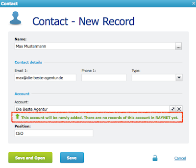 Formular, um einen Kontakt in RAYNET Cloud CRM anzulegen