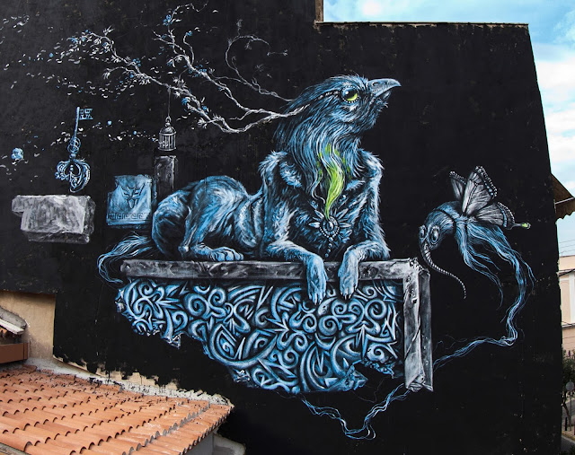 Street Art Mural Painted By Kraser Tres On The Streets of Athens, Greece. 2