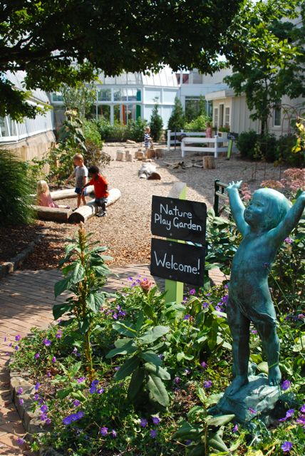 "The newest section of the Children's Garden at Phipps: the Nature Play Garden. It is based largely on the idea of ""loose parts play"", meaning that the kids are provided with wooden blocks, gravel, bamboo poles, burlap, etc. so that they can exercise their imaginations. Loose parts play happens a lot at our house... sometimes even when I wish it wouldn't :)"