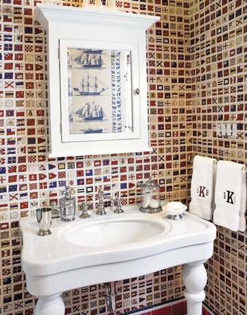 wallpaper for rooms. nautical flag wallpaper.