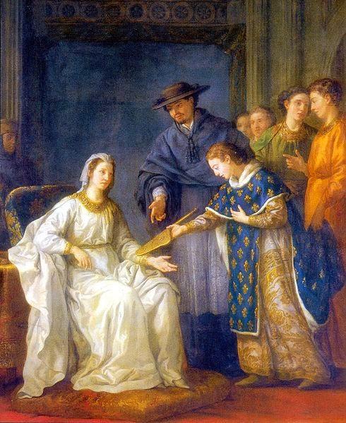 Saint Louis, roi de France, remettant la regence a sa mere Blanche de Castille