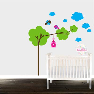 vinilos decorativos pared infantil arbol casa pajaro nubes