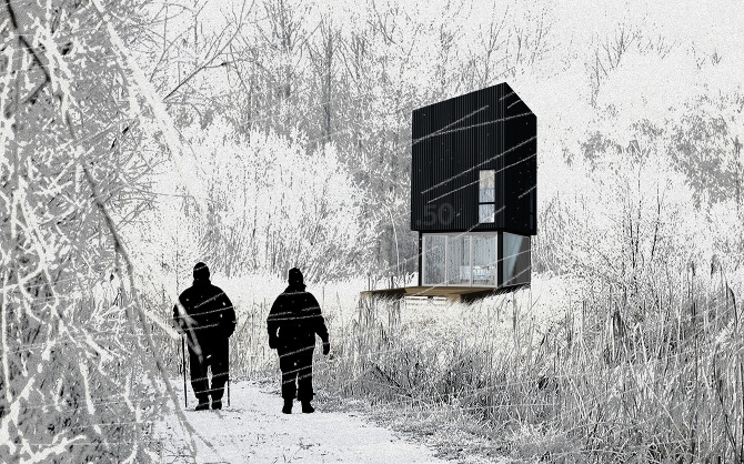 Design ideas hunting huts pop up huts montana for Hunting hut plans