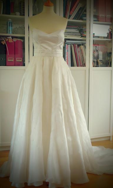 robe de soirée bustier en soie par couturière à Versailles